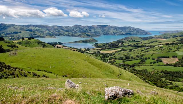 Ausblick auf die Banks Peninsula, Neuseeland - fotokunst von Kai Schneiders