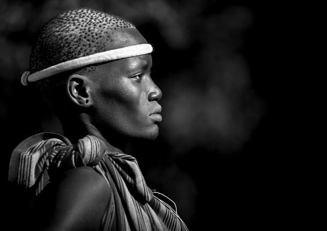 Bodi tribe woman Omo Ethiopia - fotokunst von Eric Lafforgue