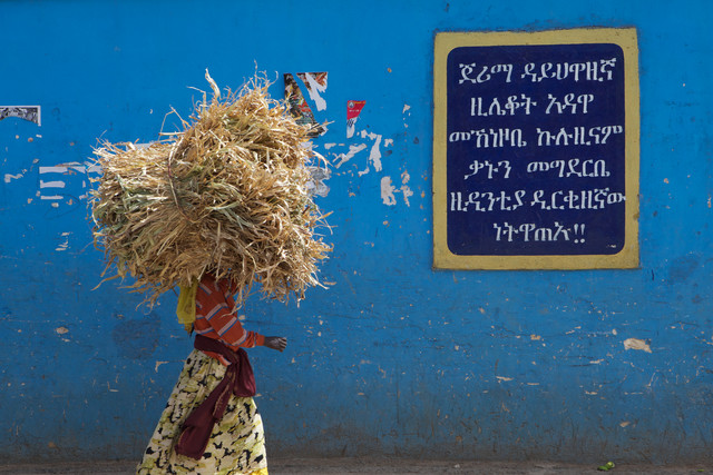 Woman carrying wood, Ethiopia. - fotokunst von Christina Feldt