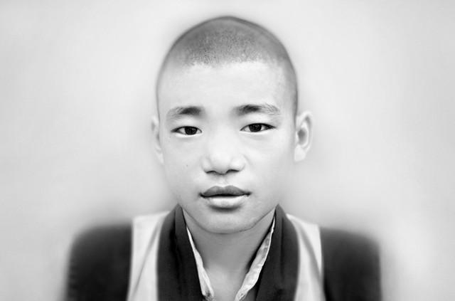 Junger Mönch im Chokling Kloster in Bir - fotokunst von Victoria Knobloch