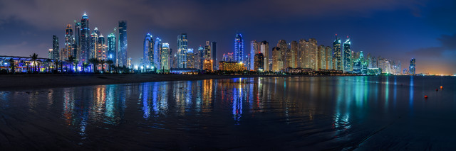 Dubai - Marina Skyline Panorama - fotokunst von Jean Claude Castor