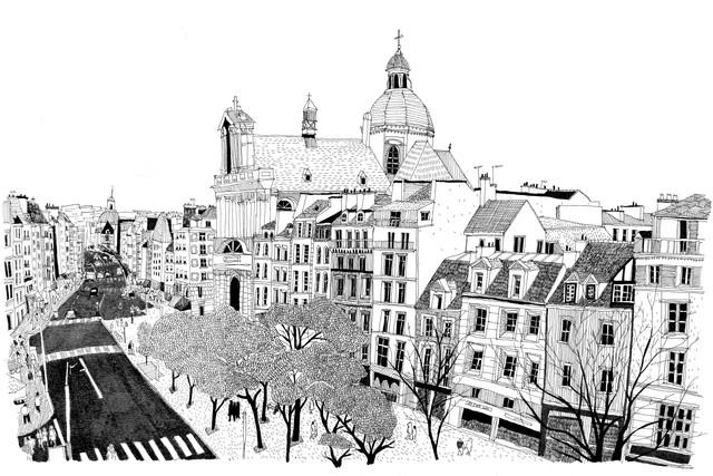 A birdseye view of Paris - fotokunst von Mieke Van Der Merwe