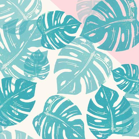 Linocut Monstera Rose - fotokunst von Bianca Green