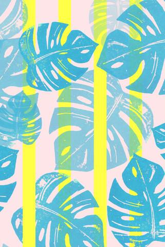 Linocut Monstera Neon - fotokunst von Bianca Green