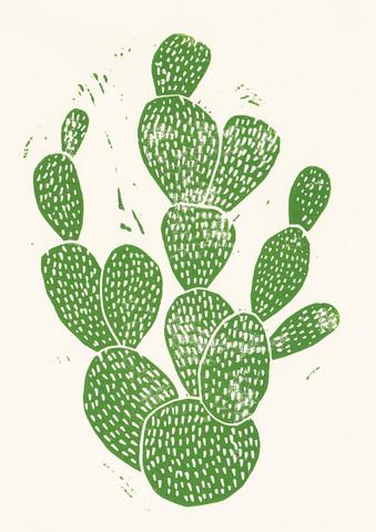 Linocut Cactus - fotokunst von Bianca Green