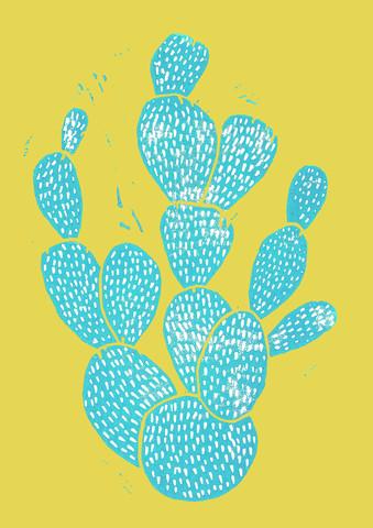 Linocut Cactus Desert Blue - fotokunst von Bianca Green
