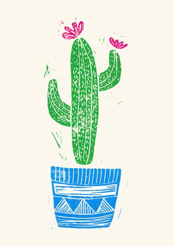 Linocut Cactus #2 Pot - fotokunst von Bianca Green