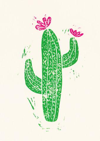 Linocut Cactus #2 - fotokunst von Bianca Green
