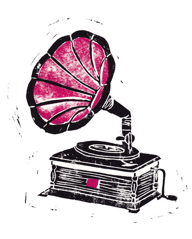 Linocut Gramophone - fotokunst von Bianca Green
