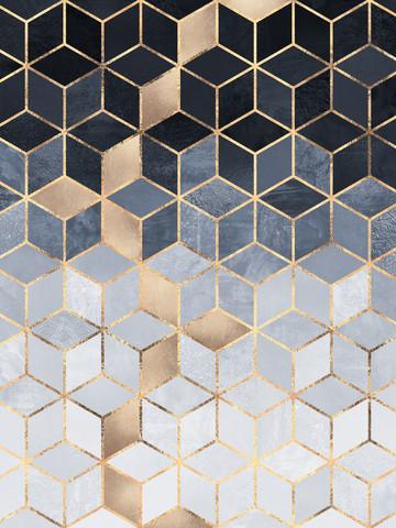 Soft Blue Gradient Cubes - fotokunst von Elisabeth Fredriksson