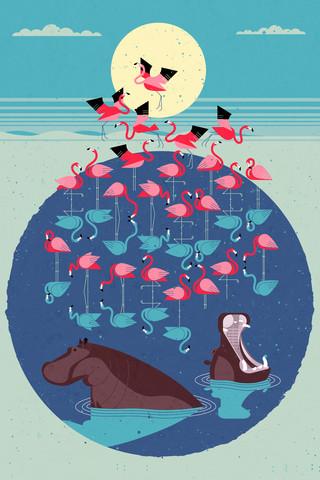 Flamingo See - fotokunst von Dieter Braun