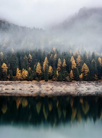 Herbstlicher Wald Reflektion - fotokunst von Christian Hartmann