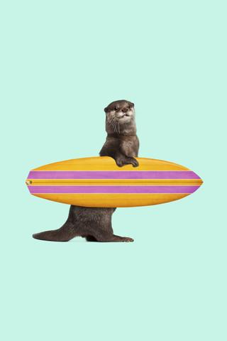Surfing Otter - fotokunst von Jonas Loose