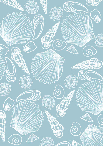 Blue Sea Shell Pattern - fotokunst von Katherine Blower