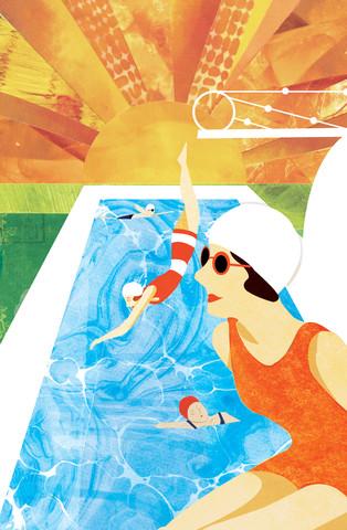 Deco Swimmers - fotokunst von Katherine Blower