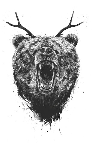 Angry bear with antlers - fotokunst von Balazs Solti