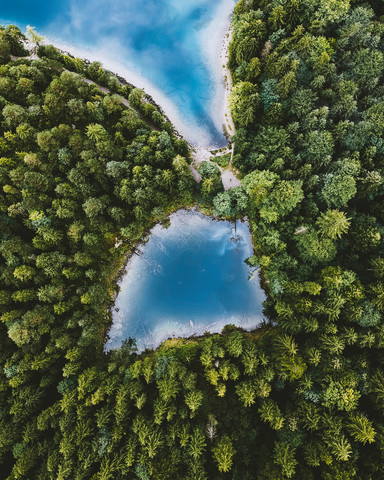 Lake Eibsee from above - fotokunst von Timo Maier