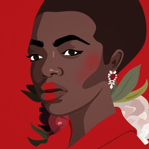 Portrait n°2 : Black woman - fotokunst von Helene Boutanos