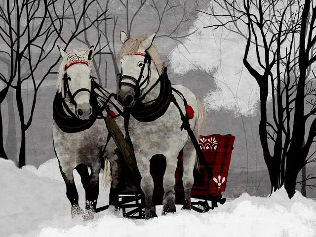 Horse Sleigh Ride - fotokunst von Katherine Blower