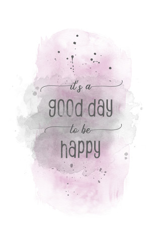 It is a good day to be happy | Aquarell rosa - fotokunst von Melanie Viola