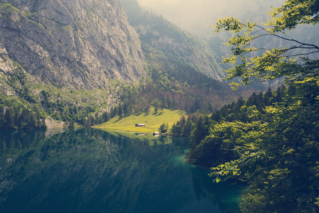 Blick auf die Fischunkelalm am Obersee - fotokunst von Franz Sussbauer