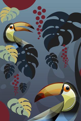 Tukan im Monstera Jungle - fotokunst von Sabrina Ziegenhorn