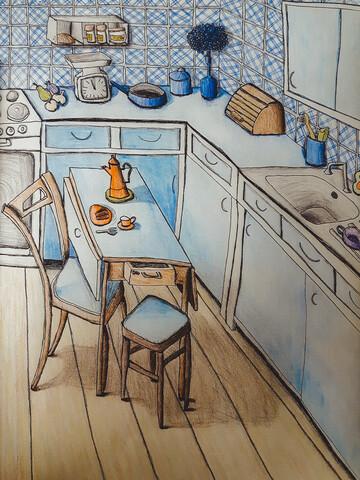 Die 70er Küche - fotokunst von Andrea Hansen