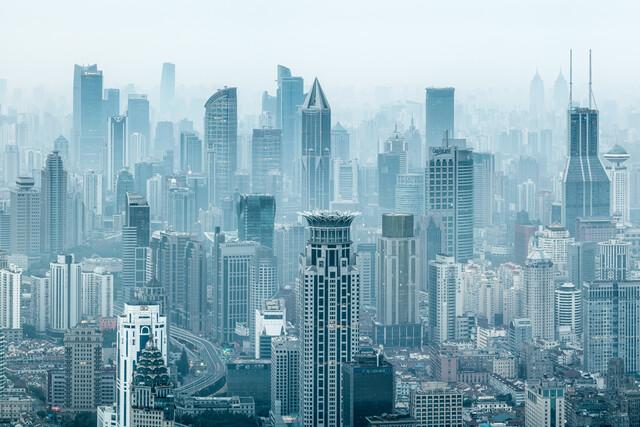 Shanghai Skyline - fotokunst von Jan Becke