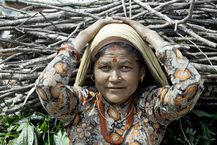 Tom Sabbadini, Lady Carrying Wood (Nepal, Asien)