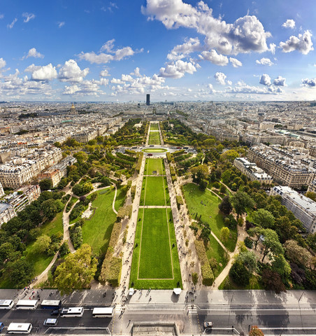 View on Champ de Mars from the Eiffel Tower in Paris - Fineart photography by Markus Schieder