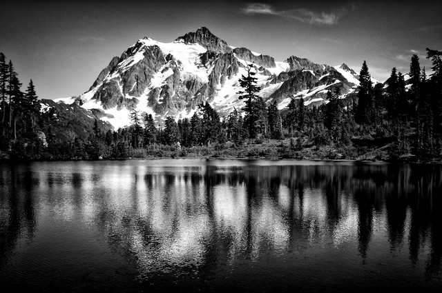 View of Mt. Sushkan from Picture Lake - Fineart photography by Jianwei Yang