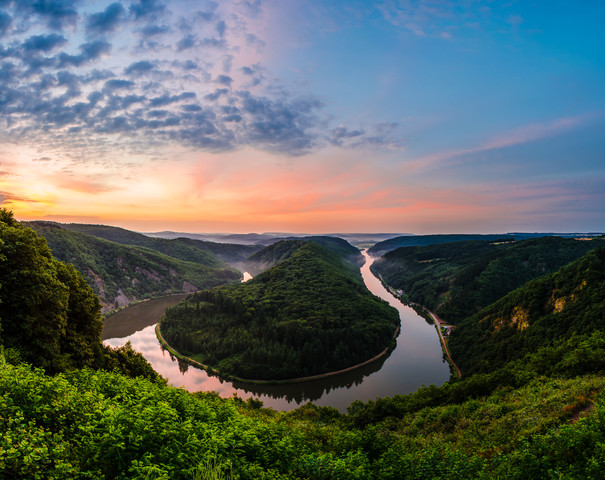 Saarschleife - Saar Loop Panorama during Sunrise - Fineart photography by Jean Claude Castor