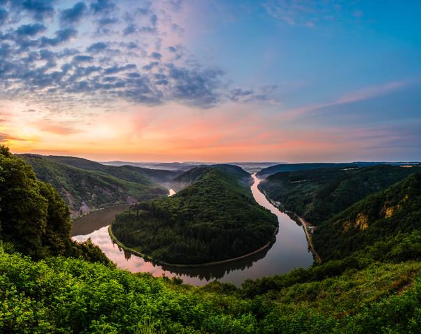 Saarschleife - Saar Loop Panorama during Sunrise - Fineart photography by Jean Claude Castor