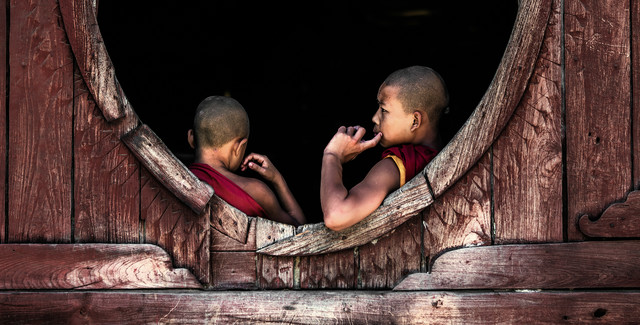 Burma - Reflecting Monks - Fineart photography by Jean Claude Castor