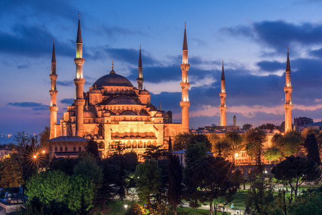 Istanbul - Sultan Ahmed I Mosque during blue Hour - Fineart photography by Jean Claude Castor