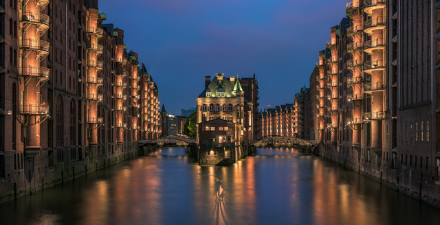 Hamburg - Speicherstadt Panorama during blue Hour - Fineart photography by Jean Claude Castor