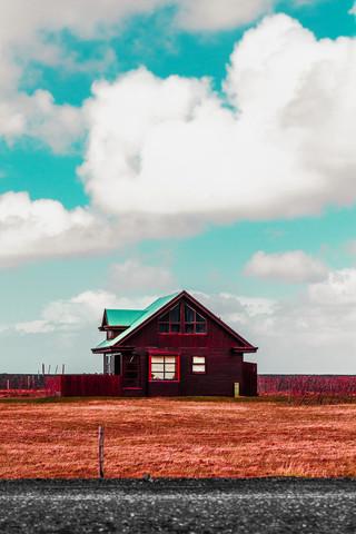 orange field house - Fineart photography by Susanne Kreuschmer