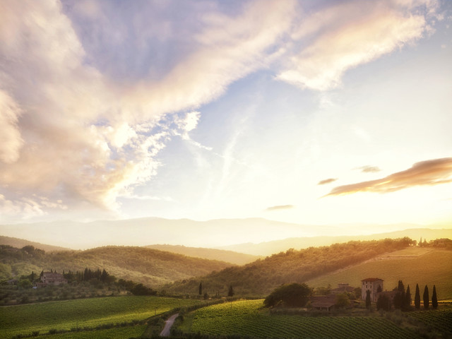 Picturesque Tuscany landscape at sunset - Fineart photography by Markus Schieder