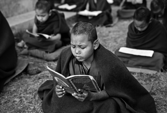 Little monk studying at Tashi Khyil Monastery - Fineart photography by Victoria Knobloch