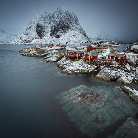 Hamnøy in a misty morning // Lofoten islands - Fineart photography by Eva Stadler
