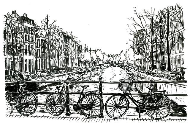 Biking in Amsterdam - Fineart photography by Mieke Van Der Merwe