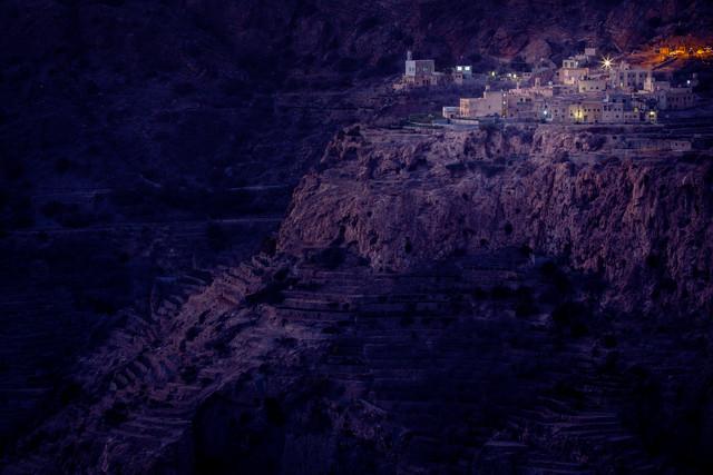 Oman: Terraced fields in blue hour - Fineart photography by Eva Stadler