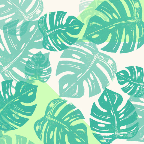 Linocut Monstera Green - Fineart photography by Bianca Green