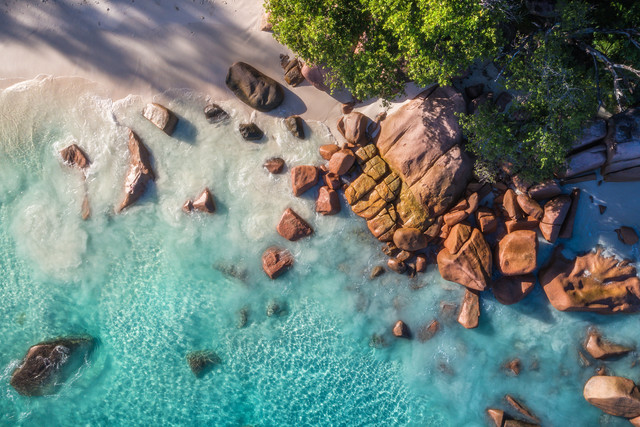Seychelles Anse Lazio Aerial View - Fineart photography by Jean Claude Castor