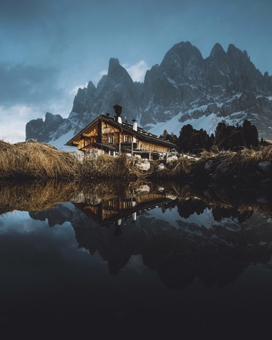 Hut Reflections in the Dolomites - Fineart photography by Jan Keller