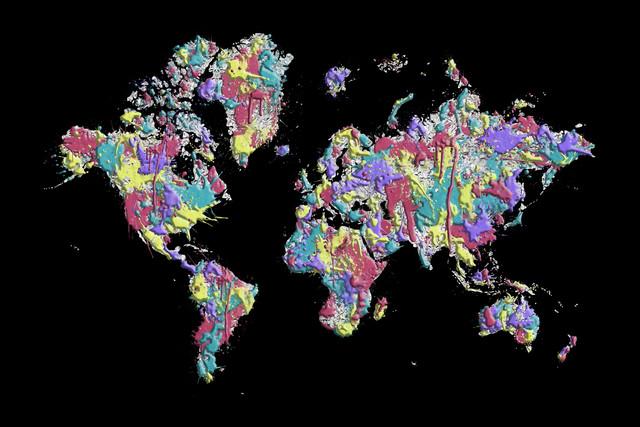 POP ART World Map black - Fineart photography by Melanie Viola