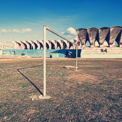 Football goal in Havana - Fineart photography by Franz Sussbauer
