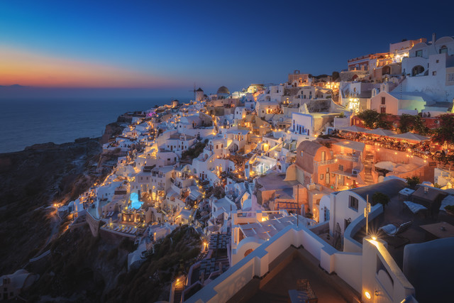 Santorini Oia Blue Hour - Fineart photography by Jean Claude Castor