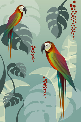 parrots in the jungle - Fineart photography by Sabrina Ziegenhorn