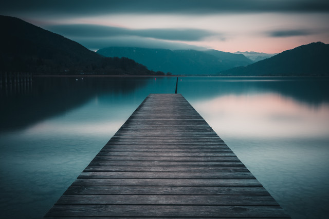 jetty at Tegernsee in evening light - Fineart photography by Franz Sussbauer